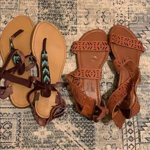 Forever 21 Shoes - Two pairs of Aztec print sandals
